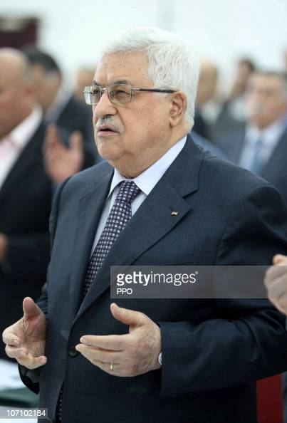 In this handout image provided by the Palestinian Press Office President Mahmoud Abbas attends a Fatah Revolutionary Council meeting on November 24...