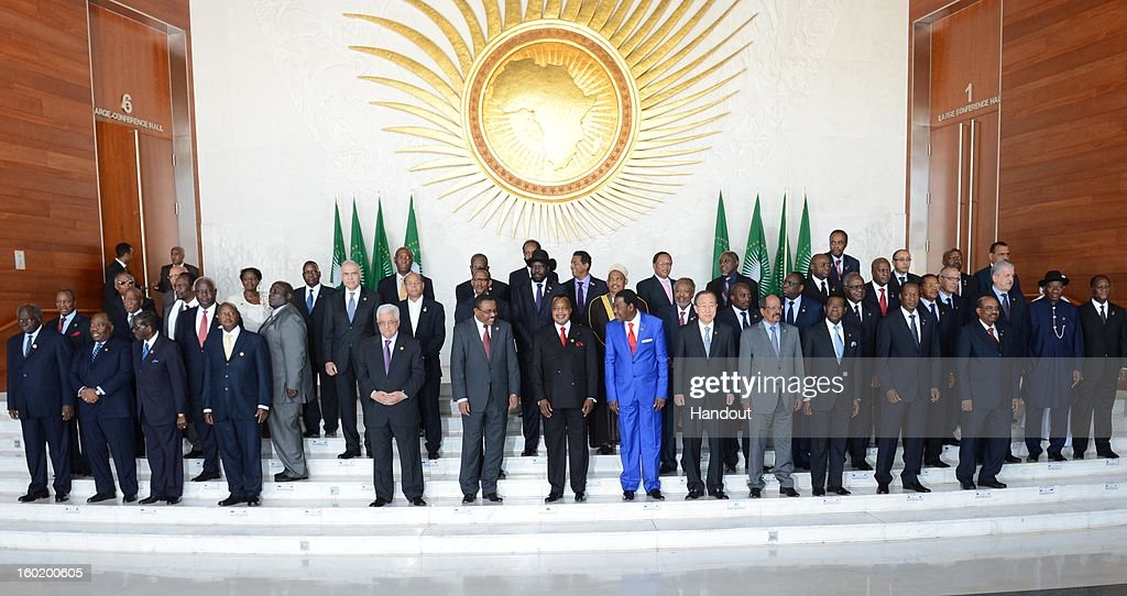 In this handout image provided by the Palestinian Press Office, President Mahmoud Abbas (front row, 5th L) attends a meeting of the African Union on January 27, 2013 in Addis Ababa, Ethiopia.
