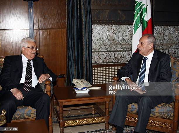 In this handout image provided by the Palestinian Press Office President of the Palestinian National Authority Mahmoud Abbas meets with Lebanese...