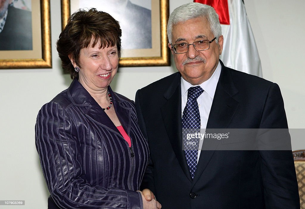 In this handout image provided by the Palestinian Press Office (PPO), Palestinian President Mahmoud Abbas shakes hands with <a gi-track='captionPersonalityLinkClicked' href=/galleries/search?phrase=Catherine+Ashton&family=editorial&specificpeople=2314228 ng-click='$event.stopPropagation()'>Catherine Ashton</a>, High Representative for Foreign Affairs and Security Policy of the European Union, during their meeting on January 6, 2011 in Ramallah, West Bank. EU Policy Chief <a gi-track='captionPersonalityLinkClicked' href=/galleries/search?phrase=Catherine+Ashton&family=editorial&specificpeople=2314228 ng-click='$event.stopPropagation()'>Catherine Ashton</a> met with President Mahmoud Abbas to discuss efforts to renew stalled peace negotiations with Israel.