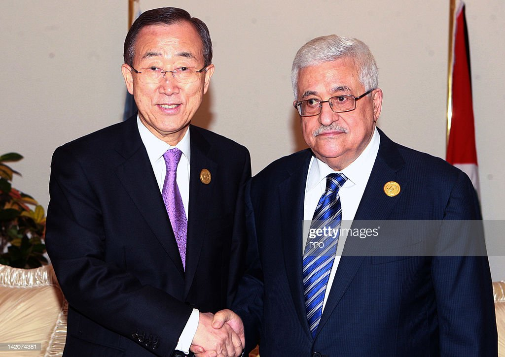 In this handout image provided by the Palestinian Press Office (PPO), President <a gi-track='captionPersonalityLinkClicked' href=/galleries/search?phrase=Mahmoud+Abbas&family=editorial&specificpeople=176534 ng-click='$event.stopPropagation()'>Mahmoud Abbas</a> (R) meets with UN Secretary-General Ban Ki-moon on March 29, 2012 in Baghdad, Iraq. Leaders from 21 Arab states have gathered in Baghdad to attend the Arab League annual summit, the first to be held in the Iraqi capital since 1990, with the conflict in Syria expected to dominate the agenda.