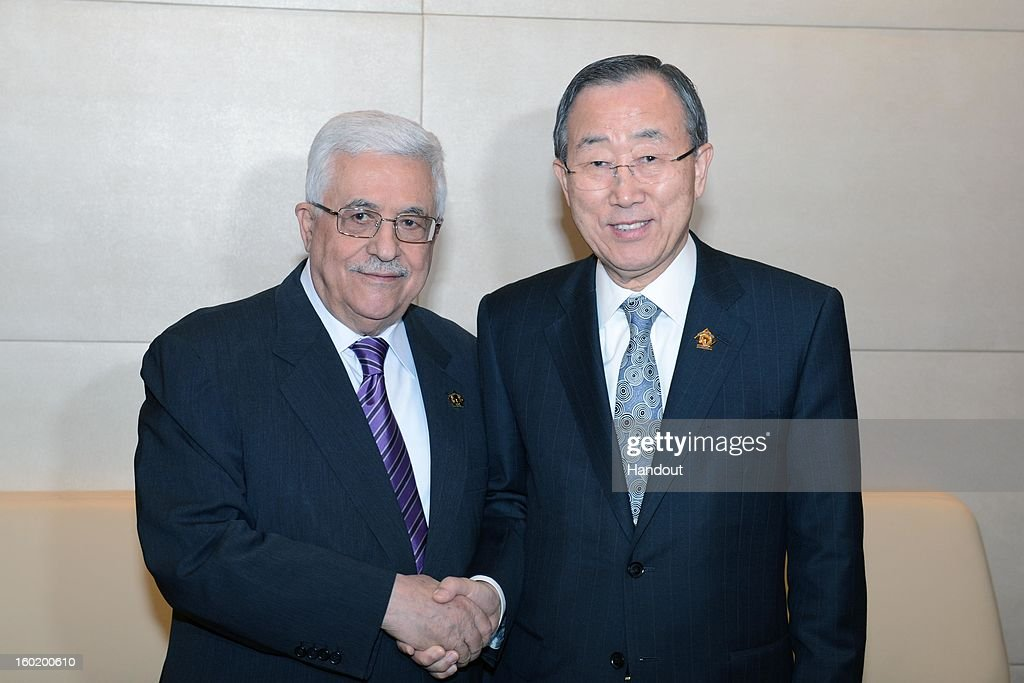 In this handout image provided by the Palestinian Press Office, President Mahmoud Abbas visits with <a gi-track='captionPersonalityLinkClicked' href=/galleries/search?phrase=Ban+Ki-moon&family=editorial&specificpeople=206144 ng-click='$event.stopPropagation()'>Ban Ki-moon</a>, the Secretary-General of the U.N. during a meeting of the African Union on January 27, 2013 in Addis Ababa, Ethiopia.