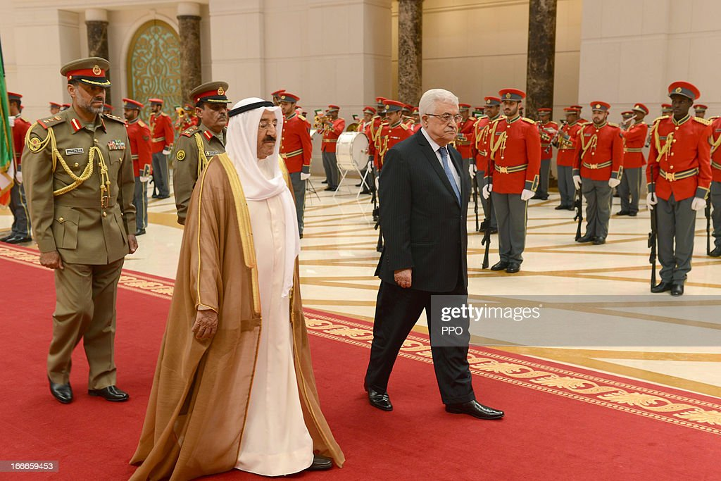 In this handout image provided by the Palestinian Press Office (PPO), Palestinian President Mahmoud Abbas (R) walks with His Highness the Amir Sheikh Sabah Al-Ahmad Al-Jaber Al-Sabah during a state visit April 15, 2013 in Kuwait City, Kuwait Amir Sheikh Sabah extended generous support to the Palestinian people and cause.