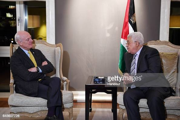 In this handout image provided by the Palestinian Press Office Palestinian President Mahmoud Abbas meets with UN Envoy to Syria Staffan de Mistura...