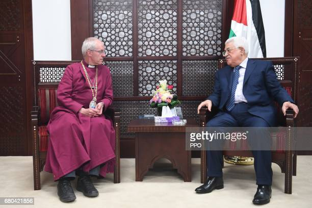 In this handout image provided by the Palestinian Press Office Palestinian president Mahmoud Abbas meets with Archbishop of Canterbury Justin Welby...