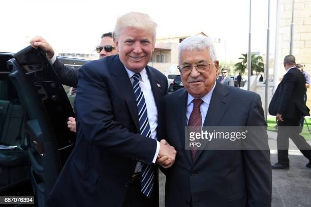 In this handout image provided by the Palestinian Press Office Palestinian president Mahmoud Abbas meets US President Donald Trump on May 23 2017 in...
