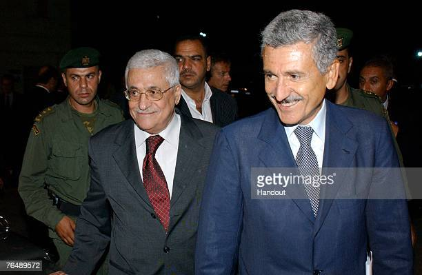 In this handout image provided by the Palestinian Press Office Palestinian President Mahmoud Abbas meets with Deputy Prime Minister and Foreign...