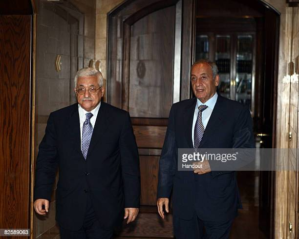 In this handout image provided by the Palestinian Press Office Palestinian President Mahmoud Abbas meets with Lebanese Parliament Speaker Nabih Berri...