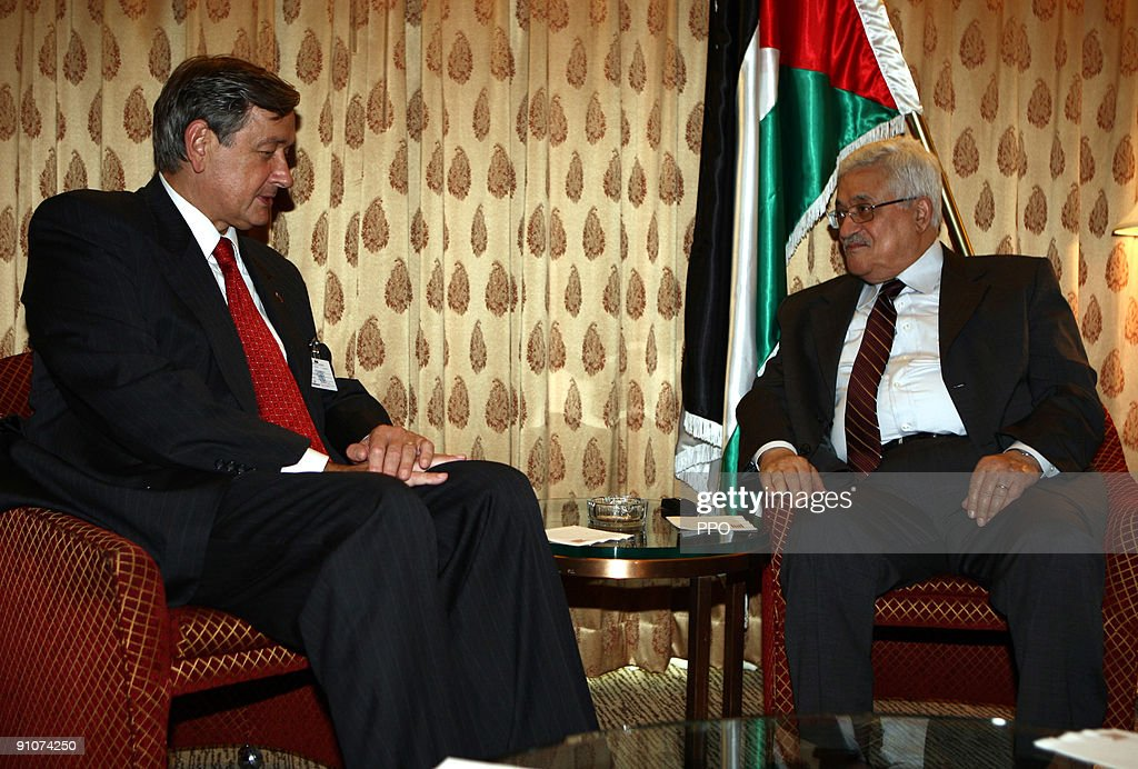 In this handout image provided by the Palestinian Press Office (PPO), Palestinian President <a gi-track='captionPersonalityLinkClicked' href=/galleries/search?phrase=Mahmoud+Abbas&family=editorial&specificpeople=176534 ng-click='$event.stopPropagation()'>Mahmoud Abbas</a> (R) meets with Slovenian President <a gi-track='captionPersonalityLinkClicked' href=/galleries/search?phrase=Danilo+Turk&family=editorial&specificpeople=5085526 ng-click='$event.stopPropagation()'>Danilo Turk</a> September 23, 2009 in New York City. U.S, Palestinian and Israeli leaders met yesterday for talks aimed at renewing the stalled Israeli-Palestinian peace talks, against the backdrop of the 64th session of the United Nations General Assembly, featuring leaders from over 120 countries.