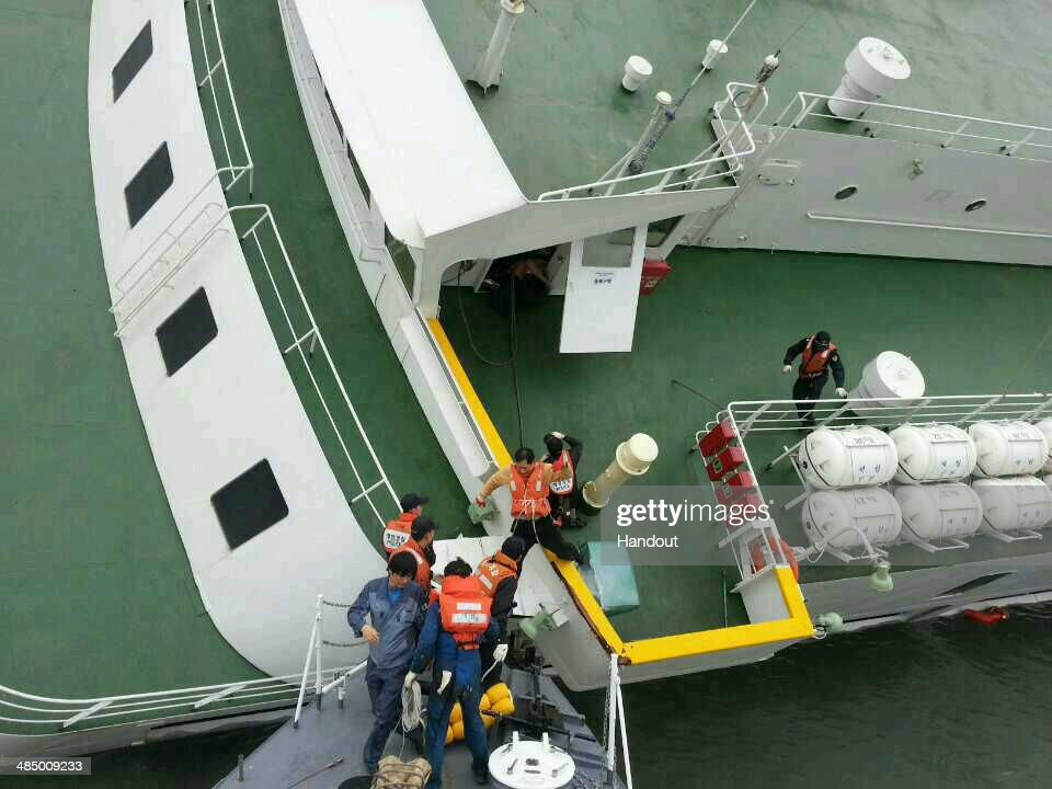 In this handout image provided by the Republic of Korea Coast Guard, passengers are rescued by the Republic of Korea Coast Guard from a ferry sinking off the coast of Jindo Island on April 16, 2014 in Jindo-gun, South Korea. The ferry identified as the Sewol was carrying about 470 passengers, including students and teachers, traveling to Jeju island.