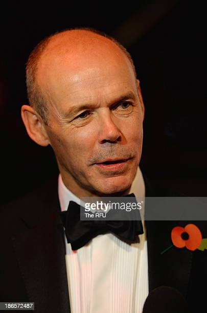 In this handout image provided by The RFU Sir Clive Woodward talk to the media during the England RWC 2003 Ten Year Celebration Dinner at Battersea...
