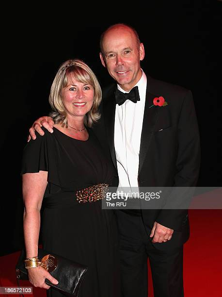 In this handout image provided by the RFU World Cup winning coach Sir Clive Woodward poses with his wife Lady Jane during the England RWC 2003 Ten...