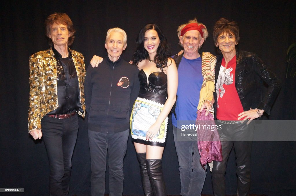In this handout image provided by The Rolling Stones, <a gi-track='captionPersonalityLinkClicked' href=/galleries/search?phrase=Mick+Jagger&family=editorial&specificpeople=201786 ng-click='$event.stopPropagation()'>Mick Jagger</a>, <a gi-track='captionPersonalityLinkClicked' href=/galleries/search?phrase=Charlie+Watts&family=editorial&specificpeople=213325 ng-click='$event.stopPropagation()'>Charlie Watts</a>, <a gi-track='captionPersonalityLinkClicked' href=/galleries/search?phrase=Katy+Perry&family=editorial&specificpeople=599558 ng-click='$event.stopPropagation()'>Katy Perry</a>, <a gi-track='captionPersonalityLinkClicked' href=/galleries/search?phrase=Keith+Richards+-+Musician&family=editorial&specificpeople=202882 ng-click='$event.stopPropagation()'>Keith Richards</a> and Ronnie Wood pose backstage at the MGM Grand Garden Arena on May 11, 2013 in Las Vegas, Nevada.