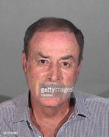 In this handout image provided by the Santa Monica Police Department NBC sportscaster Al Michaels is seen in a police booking photo after his arrest...