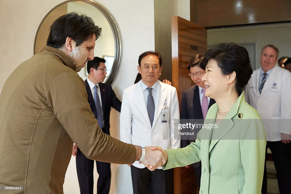 In this handout image provided by the South Korean Presidential House, South Korean President <a gi-track='captionPersonalityLinkClicked' href=/galleries/search?phrase=Park+Geun-hye&family=editorial&specificpeople=603075 ng-click='$event.stopPropagation()'>Park Geun-hye</a> shakes hands with U.S. Ambassador to South Korea <a gi-track='captionPersonalityLinkClicked' href=/galleries/search?phrase=Mark+Lippert&family=editorial&specificpeople=5797334 ng-click='$event.stopPropagation()'>Mark Lippert</a> at Severance Hospital on March 9, 2015 in Seoul, South Korea. The ambassador was attacked with a razor blade by anti-U.S. activist Kim Ki-jong on March 5, when he was going to give a lecture. President Park visited injured Lippert after she returned from Middle East tour.
