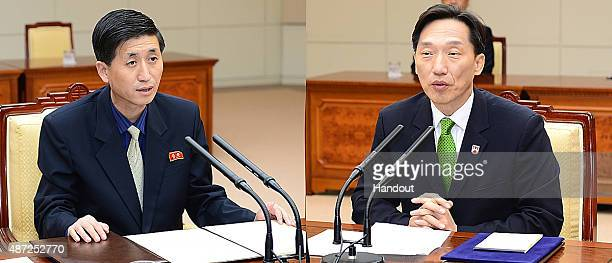 In this handout image provided by the South Korean Unification Ministry South Korean chief delegate Lee DeokHaeng attends a meeting with his North...