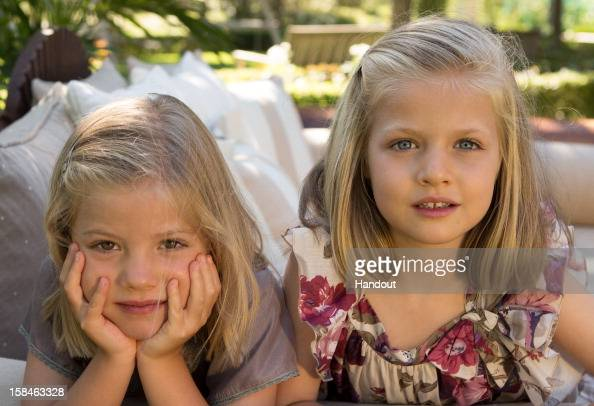 In this handout image provided by the Spanish Royal Household the portraits of Princess Sofia of Spain and Princess Leonor of Spain taken in August...