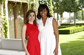 In this handout image provided by the Spanish Royal Palace Queen Letizia of Spain and Michelle Obama are seen at Zarzuela Palace on June 30 2016 in...