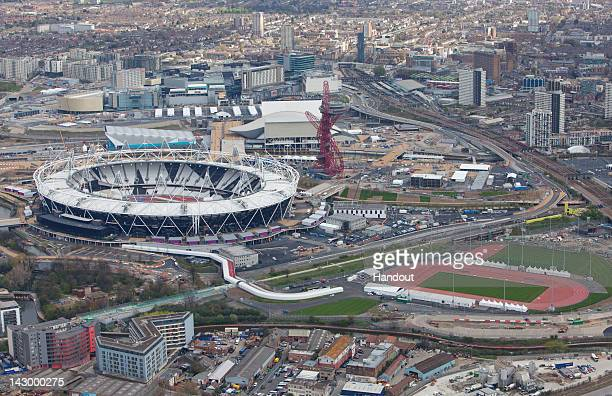 In this handout image provided by the The London Organising Committee of the Olympic Games an aerial view of the Olympic Stadium in the London 2012...