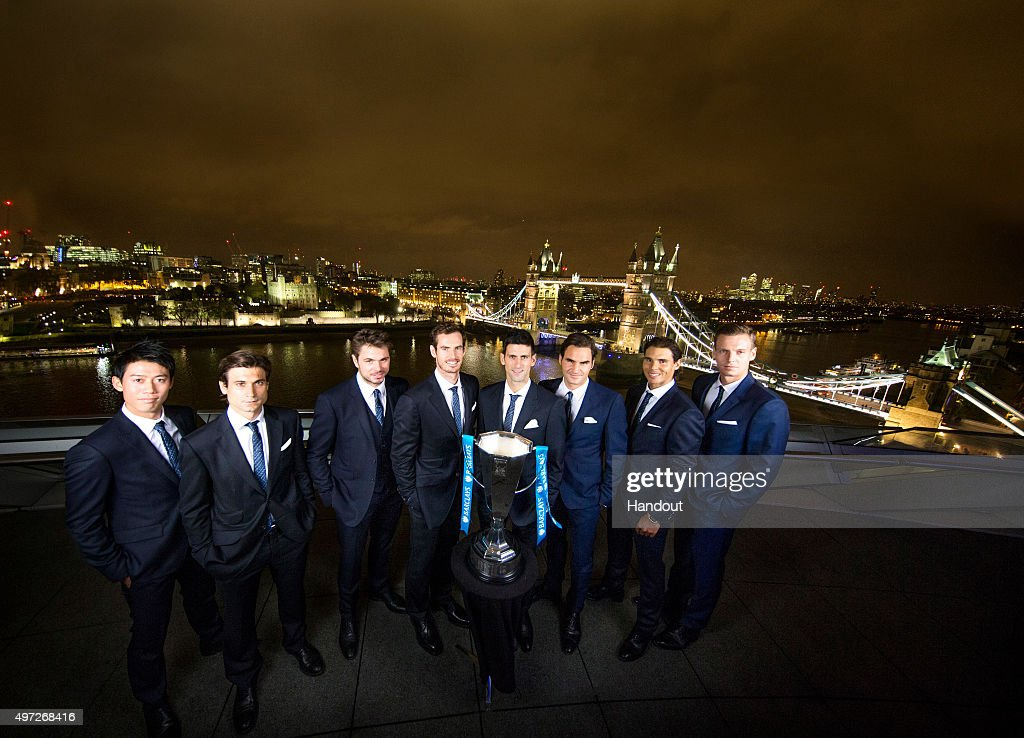 In this handout image provided by The Times for ATP, the ATP World Tour finalists standing in order of ranking for the event, 1. <a gi-track='captionPersonalityLinkClicked' href=/galleries/search?phrase=Novak+Djokovic&family=editorial&specificpeople=588315 ng-click='$event.stopPropagation()'>Novak Djokovic</a>, 2. Andy Murray, 3. <a gi-track='captionPersonalityLinkClicked' href=/galleries/search?phrase=Roger+Federer&family=editorial&specificpeople=157480 ng-click='$event.stopPropagation()'>Roger Federer</a>, 4. Stan Wawrinka, 5. <a gi-track='captionPersonalityLinkClicked' href=/galleries/search?phrase=Rafael+Nadal&family=editorial&specificpeople=194996 ng-click='$event.stopPropagation()'>Rafael Nadal</a>, 6. <a gi-track='captionPersonalityLinkClicked' href=/galleries/search?phrase=Tomas+Berdych&family=editorial&specificpeople=239147 ng-click='$event.stopPropagation()'>Tomas Berdych</a>, 7. <a gi-track='captionPersonalityLinkClicked' href=/galleries/search?phrase=David+Ferrer&family=editorial&specificpeople=208197 ng-click='$event.stopPropagation()'>David Ferrer</a> and 8. <a gi-track='captionPersonalityLinkClicked' href=/galleries/search?phrase=Kei+Nishikori&family=editorial&specificpeople=4432498 ng-click='$event.stopPropagation()'>Kei Nishikori</a> pose for a group photograph at City Hall with Tower Bridge and the London skyline as a backdrop on November 13, 2015 in London, England.