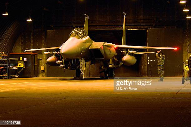In this handout image provided by the US Air Force 492nd FS commander prepare to taxi their F15E Strike Eagle prior to their departure from RAF...