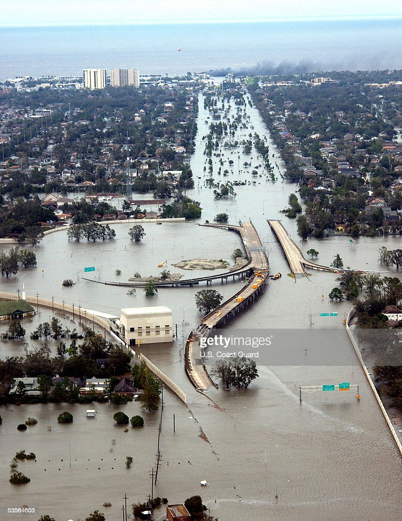 In this handout image provided by the U.S. Coast Guard, water flooded roadways can be seen as the U.S. Coast Guard conducts initial Hurricane Katrina damage assessment overflights August 29, 2005 in New Orleans, Louisiana. Devastation is widespread throughout the city with water approximately 12 feet high in some areas. Hundreds are feared dead and thousands were left homeless in Louisiana, Mississippi, Alabama and Florida by the storm. Looting has been reported in New Orleans, which is mostly empty due to the storm.