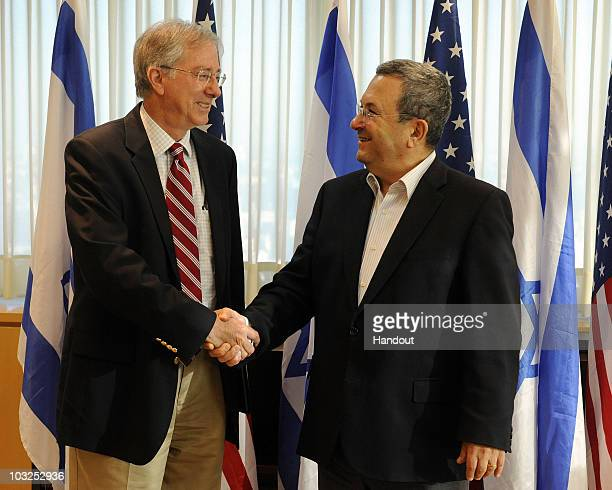 In this handout image provided by the US Embassy Tel Aviv Dennis Ross Special Assistant to the President and Director for the Central Region at the...