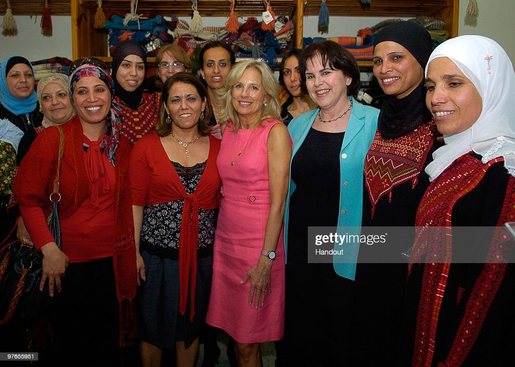 In this handout image provided by the U.S. Embassy Tel Aviv U.S. Vice President Joe Biden's wife Dr. <a gi-track='captionPersonalityLinkClicked' href=/galleries/search?phrase=Jill+Biden&family=editorial&specificpeople=997040 ng-click='$event.stopPropagation()'>Jill Biden</a> visits a Bedouin Women's Craft Center on March 11, 2010 in Lakiya, Israel. Vice President Biden with his wife is currently on tour of the middle east which has so far seen him meeting with Palestinian President Mahmoud Abbas, Israeli Prime Minister Benjamin Netanyahu and Israeli President Shimon Peres.