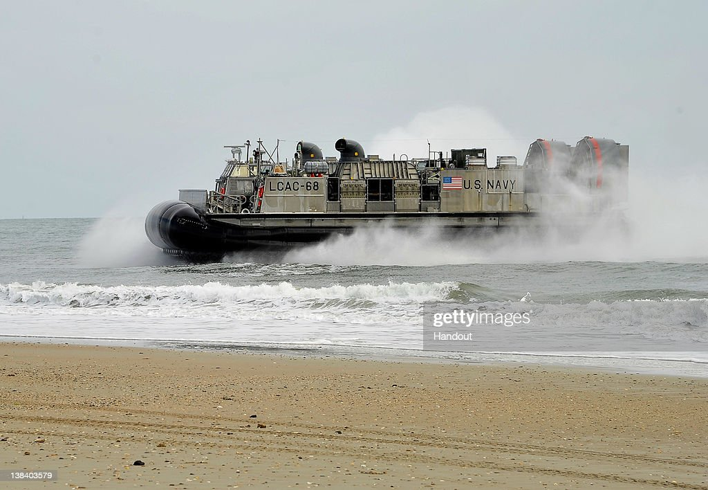 In this handout image provided by the U.S. Navy, A landing craft air cushioned (LCAC) from the amphibious assault ship USS Kearsarge comes ashore during a Bold Alligator 2012 amphibious landing exercise on Feb. 6, 2012 in Camp Lejeune, North Carolina. Bold Alligator 2012, the largest naval amphibious exercise in the past 10 years, represents the Navy and Marine Corps' revitalization of the full range of amphibious operations and will last through Feb. 12, 2012 afloat and ashore in and around Virginia and North Carolina.