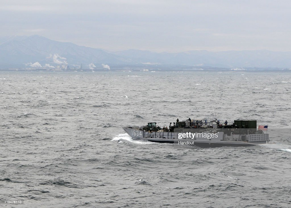 In this handout image provided by the U.S. Navy, a landing craft utility from the forward-deployed amphibious assault ship USS Essex is underway off the coast of Japan near Akita to survey possible landing sites March 19, 2011 in the Sea of Japan. Essex, the amphibious dock landing ship, USS Harpers Ferry and USS Germantown, with the embarked 31st Marine Expeditionary Unit, are off the coast of Akita Prefecture, Japan, in support of Operation Tomodachi.