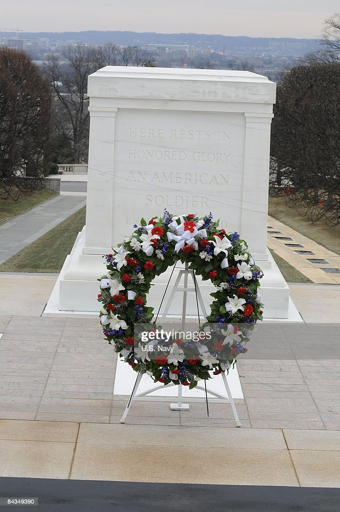 In this handout image provided by the US Navy A wreath is displayed after US Presidentelect Barack Obama and Vice Presidentelect Joseph Biden it at...