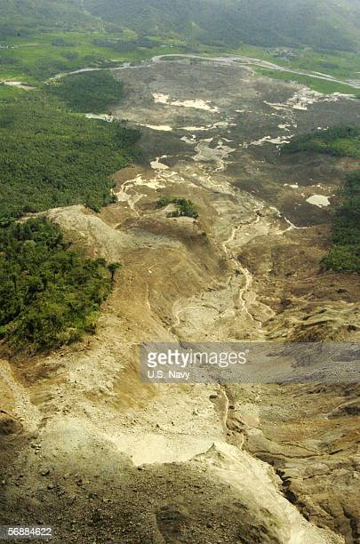 In this handout image provided by the US Navy an aerial view of the landslide area is shown February 19 2006 in Saint Bernard Philippines The aerial...