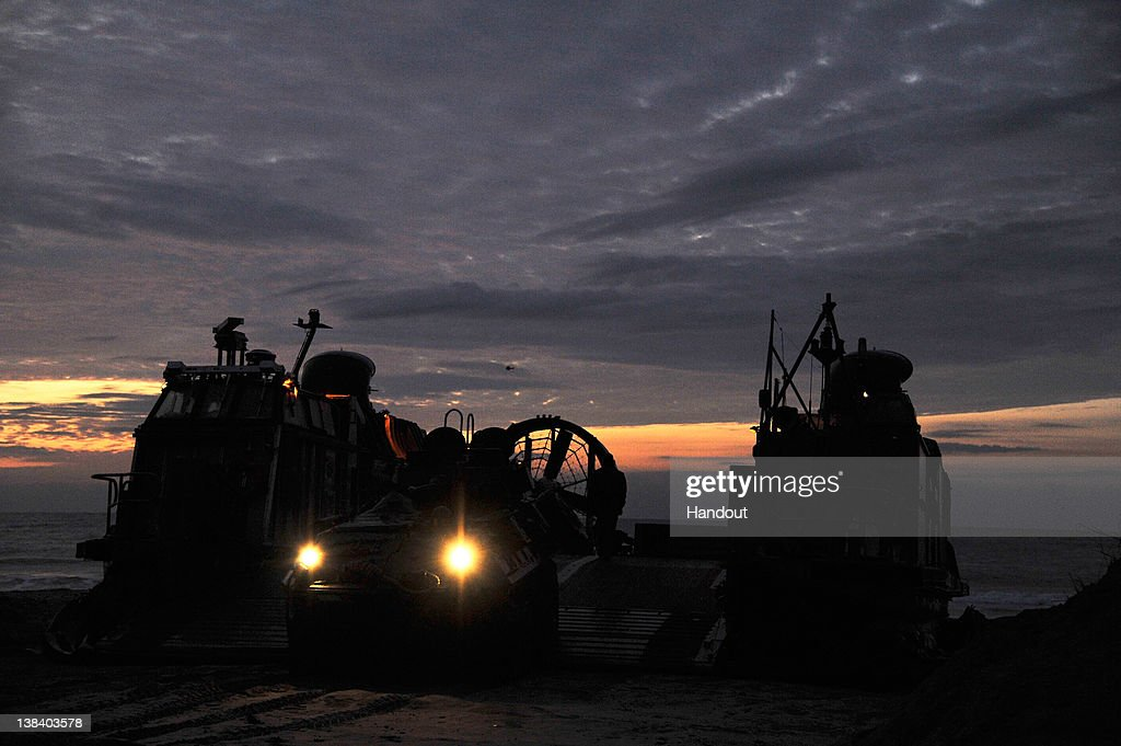 In this handout image provided by the U.S. Navy, An amphibious assault vehicle is offloaded from a landing craft, air cushion (LCAC) during a Bold Alligator 2012 amphibious landing exercise on Feb. 6, 2012 in Camp Lejeune, North Carolina. Bold Alligator 2012, the largest naval amphibious exercise in the past 10 years, represents the Navy and Marine Corps' revitalization of the full range of amphibious operations and will last through Feb. 12, 2012 afloat and ashore in and around Virginia and North Carolina.