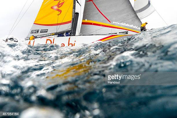 In this handout image provided by the Volvo Ocean Race Abu Dhabi Ocean Racing leaves Alicante during the start of Leg 1 of the Volvo Ocean Race from...