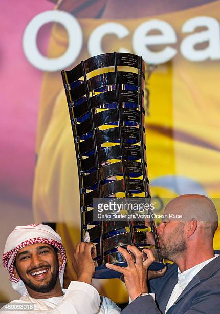 In this handout image provided by the Volvo Ocean Race Abu Dhabi Ocean Racing winners overall during the final awards ceremony on June 27 2015 in...