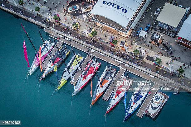 In this handout image provided by the Volvo Ocean Race an aerial view of the whole one design fleet is moored in the pontoon ahead of the InPort race...
