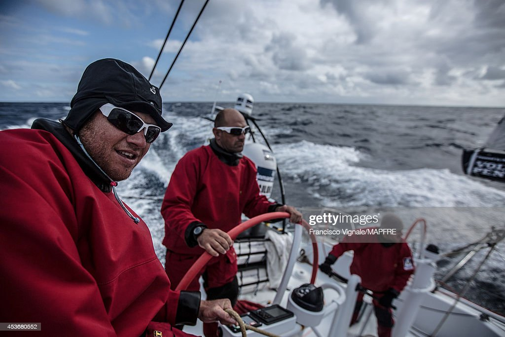 In this handout image provided by the Volvo Ocean Race, Antonio Cuervas-Mons - aka 'Neti' and Xabi Fernandez in action as the Spanish team skippered by Iker Martinez compete in the Sevenstar Round Britain and Ireland race with their new Volvo Ocean 65 on August 14, 2014 in an unspecified location at sea. The Volvo Ocean Race will start from Alicante in Spain on October 04, 2014, the 38,739-nautical mile route includes stopovers in Cape Town (South Africa), Abu Dhabi (UAE), Sanya (China), Auckland (New Zealand), Itaja (Brazil), Newport, RI, (USA), Lisbon (Portugal) and Lorient (France). A 24-hour pit-stop in The Hague is scheduled between France and the race finish in Sweden. The Volvo Ocean Race is the world's premier ocean yacht race for professional racing crews.