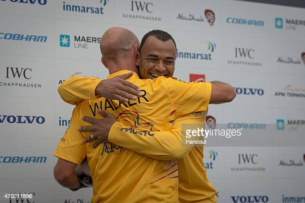 In this handout image provided by the Volvo Ocean Race Brazilian football player Cafu spends the day with Abu Dhabi Ocean Racing Cafu and Ian Walker...