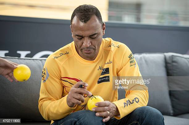 In this handout image provided by the Volvo Ocean Race Brazilian football player Cafu spends the day with Abu Dhabi Ocean Racing during the stopover...