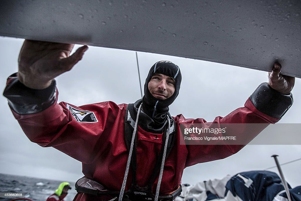 In this handout image provided by the Volvo Ocean Race, Carlos Martinez looks on as the Spanish team skippered by Iker Martinez compete in the Sevenstar Round Britain and Ireland race with their new Volvo Ocean 65 on August 12, 2014 in an unspecified location at sea. The Volvo Ocean Race will start from Alicante in Spain on October 04, 2014, the 38,739-nautical mile route includes stopovers in Cape Town (South Africa), Abu Dhabi (UAE), Sanya (China), Auckland (New Zealand), Itaja (Brazil), Newport, RI, (USA), Lisbon (Portugal) and Lorient (France). A 24-hour pit-stop in The Hague is scheduled between France and the race finish in Sweden. The Volvo Ocean Race is the world's premier ocean yacht race for professional racing crews.