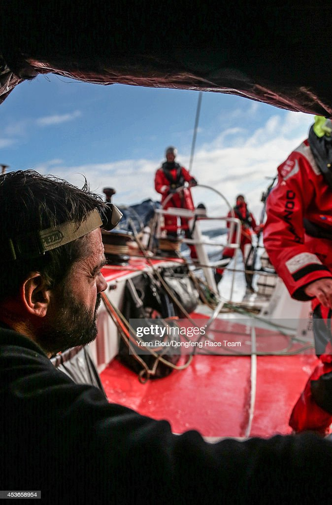 In this handout image provided by the Volvo Ocean Race, Dongfeng Race Team compete in the Round Britain and Ireland Race on August 13, 2014 in an unspecified location at sea. Here, Pascal Bidgorry. Starting from Alicante in Spain on October 04, 2014, the 38,739-nautical mile route includes stopovers in Cape Town (South Africa), Abu Dhabi (UAE), Sanya (China), Auckland (New Zealand), Itaja (Brazil), Newport, RI,(USA), Lisbon (Portugal) and Lorient (France). A 24-hour pit-stop in The Hague is scheduled between France and the race finish in Sweden. The Volvo Ocean Race is the world's premier ocean yacht race for professional racing crews.