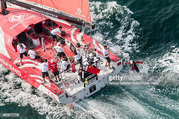 In this handout image provided by the Volvo Ocean Race Dongfeng Race Team during the start of Leg 4 from Sanya to Auckland on February 08 2015 in...