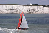 In this handout image provided by the Volvo Ocean Race Dongfeng Race Team in the English Channel and Dover Straits on the way to the pitstop on The...