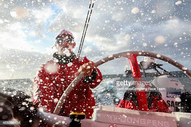 In this handout image provided by the Volvo Ocean Race Eric Peron of Dongfeng Race Team driving in a very choppy sea during Leg 2 between Cape Town...
