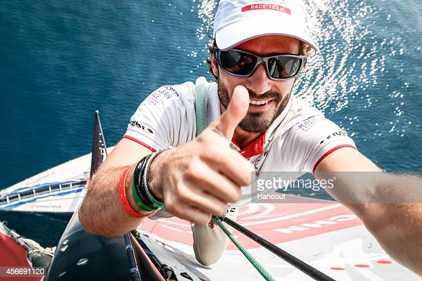 In this handout image provided by the Volvo Ocean Race HRH Prince Carl Philip of Sweden on a selfie on the top of the mast of Dongfeng Race Team...