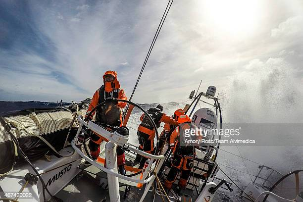 In this handout image provided by the Volvo Ocean Race Leg 5 to Itajai onboard Team Alvimedica Ryan Houston driving downwind in heavy winds The Volvo...