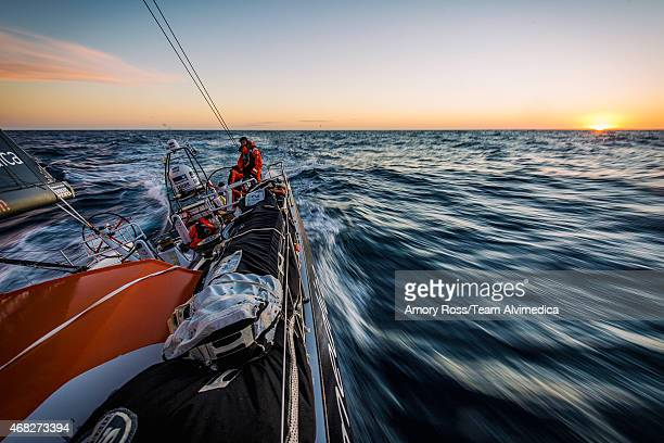 In this handout image provided by the Volvo Ocean Race Leg 5 to Itajai onboard Team Alvimedica Stu Bannatyne driving north through the South Atlantic...