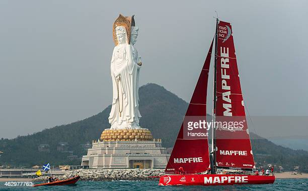 In this handout image provided by the Volvo Ocean Race MAPFRE during the start of Leg 4 from Sanya to Auckland on February 08 2015 in Sanya China The...