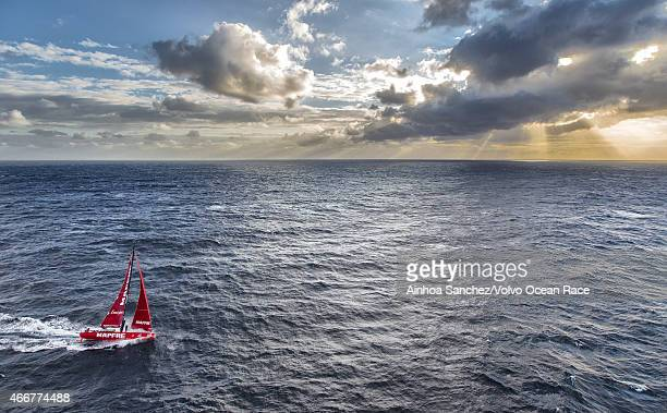 In this handout image provided by the Volvo Ocean Race MAPFRE tackles steep and angry seas as they pass East Cape the easternmost point of New...