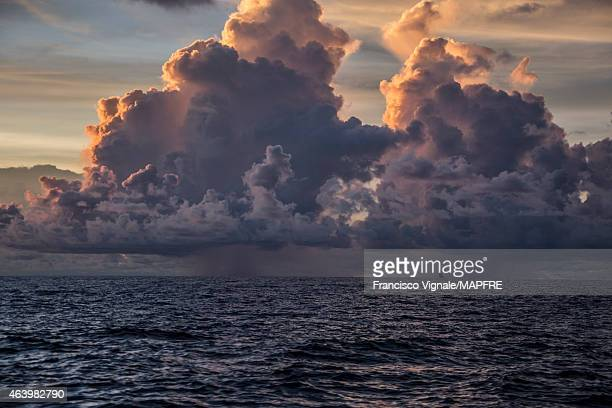 In this handout image provided by the Volvo Ocean Race onboard MAPFRE Dongfeng Race Team sailing by some heavy clouds during Leg 4 from Sanya to...